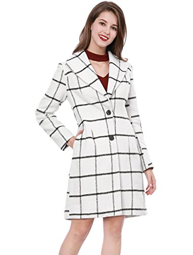 Allegra K Women's Checks Turn Down Collar Long Sleeves Coat White M