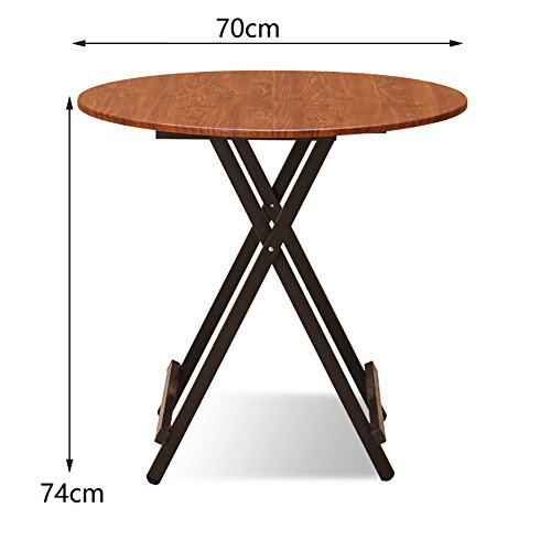 MS Small Wooden Folding Table - Kitchen and Dining and Coffee and Tea Table Outdoor Camping - Round Folding Table - Computer Workstation @ - Aluminum Tea Table