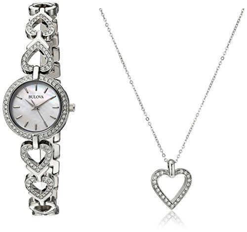 Bulova Women's 96X136 Swarvoski Crystal Box Set with Heart Pendant -
