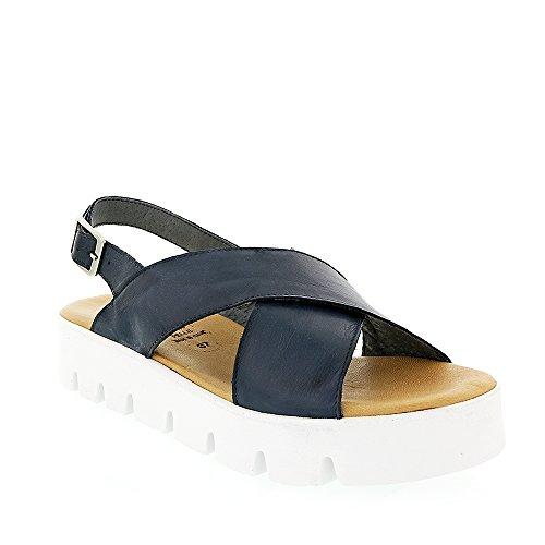 8100 Melrose Navy Cross Band Sandalo Blu Scuro