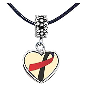 Chicforest Silver Plated red with black Aids Ribbon Photo Flower Head Dangle Heart Charm Beads Fits Pandora Charm