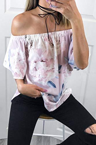 Shirt paules Tee Rose imprim Femme Blouse dnudes Floral q7qCawzt