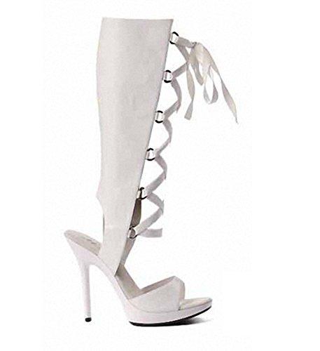 De Zapatos Kitzen Verano Las 36EU Toe De Botas Peep Mujeres Sandalias White Tacón BzBT8r