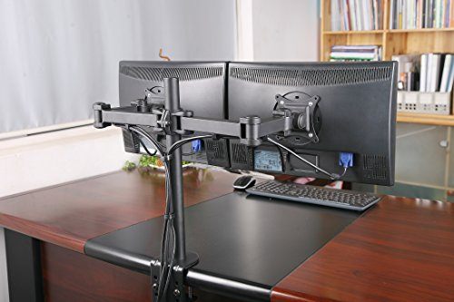 """Rife Dual LCD LED Monitor Desk Mount Stand -Fully Adjustable Arm fits 2 Screens up to 27"""""""
