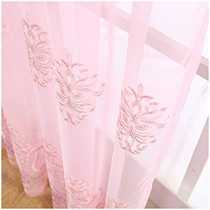 HooHero European Floral Embroidered Sheer Curtains Rod Pocket Semi Voile Drapes Panels for Living Kids Room Bedroom Kitchen (1 Panel, W 100 x L 95 inch, Pink)