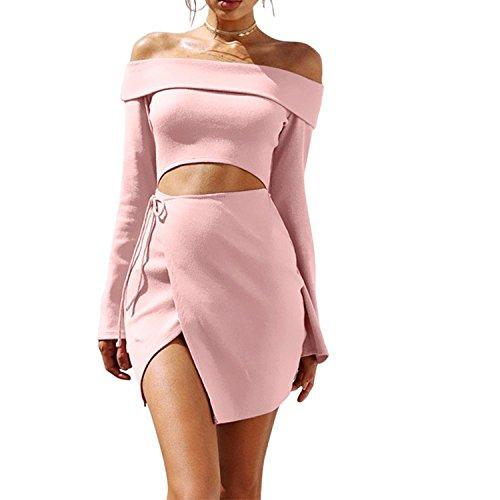 2018 Early Spring Dress Amazon Ebay Hot New Light Pink Off Shoulder Lobe Irregular Skirt Set,Pink,XL