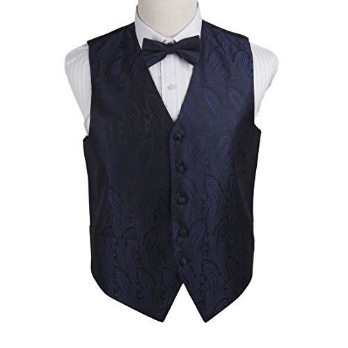 EGE1B03C-M Navy Black Paisley Microfiber Vest and Pre-tied Bow Tie Fitness World By (Vest And Bow Tie)