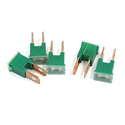 DealMux Universal 2 Blade Push-in Male Auto Link PAL Fuse Fuses Green 40A 32V 5PCS