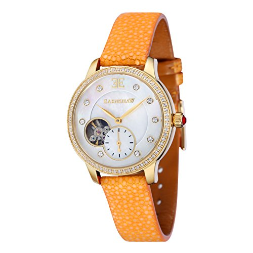 Thomas Earnshaw Women's 'LADY' Automatic Stainless Steel and Leather Casual Watch, Color:Yellow (Model: ES-8029-06)