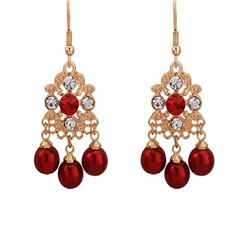 LeNG Earrings For Women NEW Classical Ear Stud With Red Pearl Round Shape Earrings Fine Jewelry EH007,Aspicture by LeNG Earrings (Image #2)