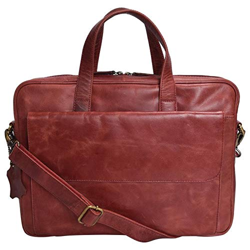 (HiLEDER 100% Pure Genuine Premium Sheep Nappa Leather 15 inch Briefcase Laptop Messenger Satchel Office Bag, Maroon )