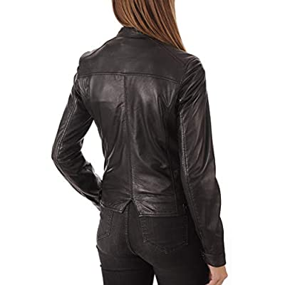 KYZER KRAFT Womens Leather Jacket Bomber Motorcycle Biker Real Lambskin Leather Jacket for Womens Collection-11 at Women's Coats Shop