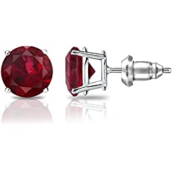 14k Gold 4-Prong Basket Round Ruby Stud Earrings (1/3 cttw) Secure Lock Back