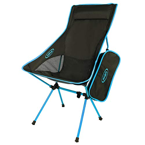 Ultra High Back Sling - G4Free Lightweight Portable Chair Outdoor Folding Backpacking Camping Lounge Chairs for Sports Picnic Beach Hiking Fishing (Blue)