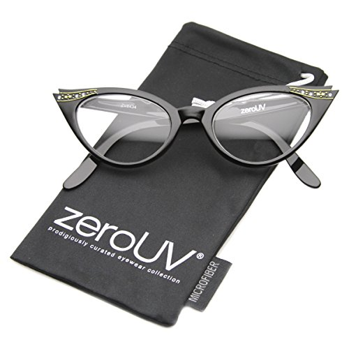 zeroUV - Vintage Cateyes 80s Inspired Fashion Clear Lens Cat Eye Glasses with Rhinestones (Black)