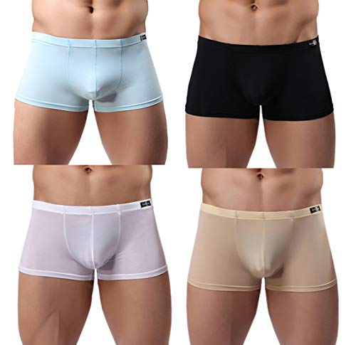 Gudan Mens Underwear 4 Pack Quick Dry Thin Silk Boxer Briefs Low Rise Size M