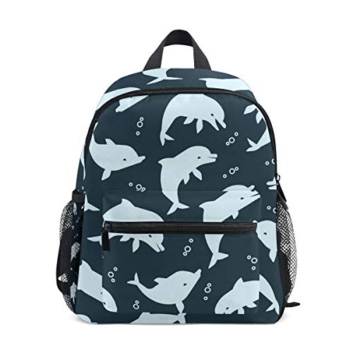 - Cartoon Blue Navy Dolphin Kid Backpack 12 inch Toddler Bookbag Travel School Bag