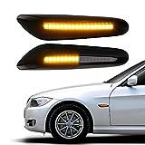 LED Side Marker Turn Signal Light, Car Work Box Sequential Amber Smoke Lens Side Marker Lamps for BMW E90 E91 E92 E93 E36 E46 E53 X3 E83 X 1 E84 E81 E82 E87 E88 (Pack of 2)