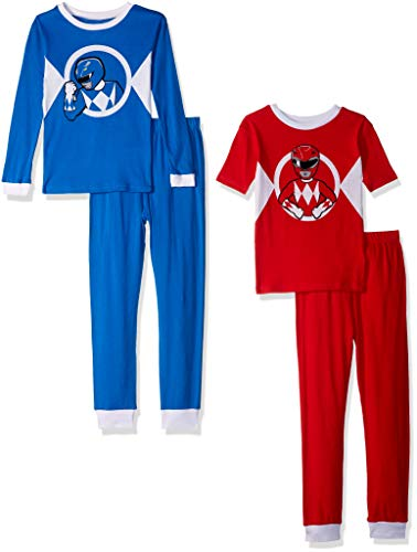 (Power Rangers Boys' Big Ranger Uniform 4-Piece Cotton Pajama Set, red vs. Blue,)