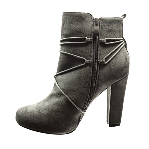 Damenmode High Schuhe Fringe 10 Schnürsenkel Pom Ankle cm Heel Sexy Booty Angkorly Pom Boots Block pdqdw