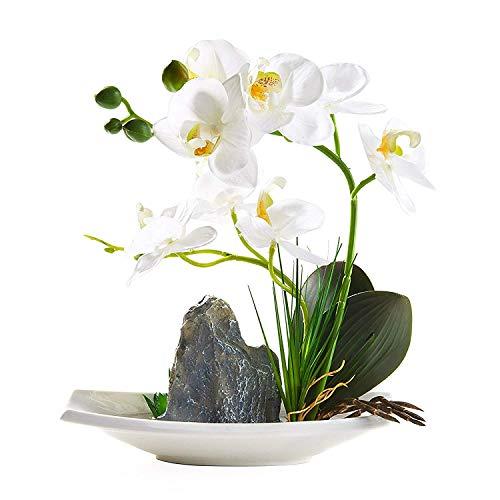 IMIEE Artificial Phaleanopsis Arrangement with Vase Decorative Orchid Flower Bonsai (White) (Arrangements Sale Flower Artificial)