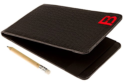 (Fuzzy Bunkers Golf Scorecard Holder and Yardage Book Cover Plus Free Golf Pencil and Downloadable PDF Stat Tracker Sheet Golf Books (Black))
