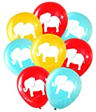 Carnival/Circus Elephant Balloons (16 pcs) by Nerdy Words (Red, Aqua, Butterscotch)
