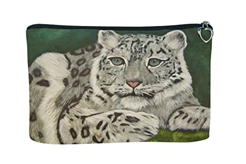 Cosmetic Bag, Zipper Pouch - Zip-top Closer - Taken From My Original Paintings - Animals (Snow Leopard - Highland Veil)