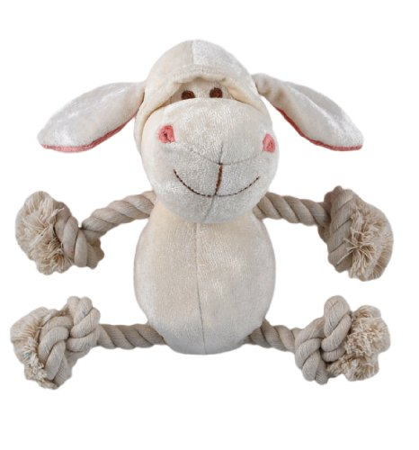Simply Fido Bamboo Rayon Plush Rope Dog Toy, Petit 6″, Lolly White Lamb, My Pet Supplies