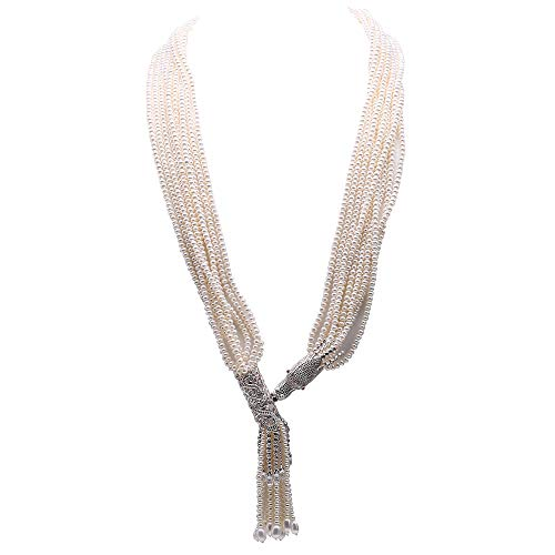 JYX Pearl Multi-Strand Necklace 4-4.5mm White Freshwater Cultured Pearl Ten-Strand Long Necklace with Silver Clasp Pendant for Women 34