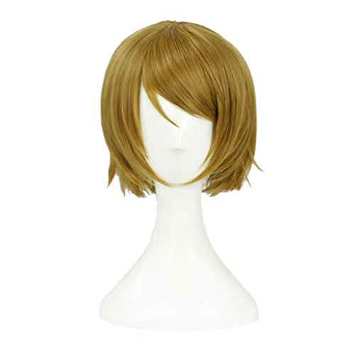 Flovex Japanese Anime Cosplay Wigs Short Straight Flaxen Halloween Costume Party Daily Hair]()