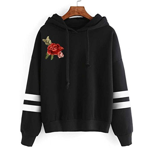 iLH Auwer Womens Embroidery Rose Applique Long Sleeve Hoodie Sweatshirt Jumper Hooded Pullover (S, Black)