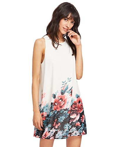 ROMWE Women's Summer Sundress Floral Printed Sleeveless Casual A Line DressWhite L Photo #3