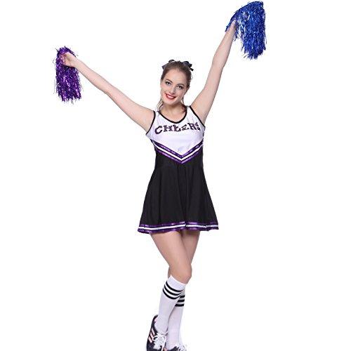 VARSITY COLLEGE SPORTS School Girl CHEERLEADER UNIFORM COSTUME OUTFIT Black XL