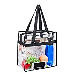 "Magicbags 12""X12""X6"" Stadium Approved Clear Tote Bag, Sturdy PVC Construction Zippered Top, Stadium Security Travel & Gym Clear Bag, Perfect for Work, School, Sports Games and Concerts"