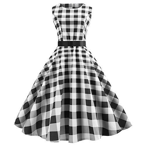 Ankola Vintage Dress Women's Classy Boatneck Plaid Printing Audrey Hepburn 1950s Vintage Sleeveless Swing Dress with Belt (S, Gray)