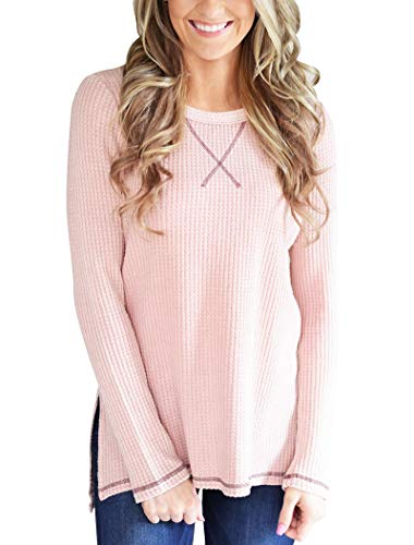 Minthunter Women's Long Sleeve Shirt Crew Neck Knit Thermal Top Cute Tunic