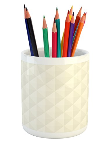 Ambesonne Ivory Pencil Pen Holder, Geometric Diamond Triangle Mix Formed Soft Pastel Toned Minimalist Artful Design, Printed Ceramic Pencil Pen Holder for Desk Office Accessory, Cream Eggshell (Diamond Pen Ivory)