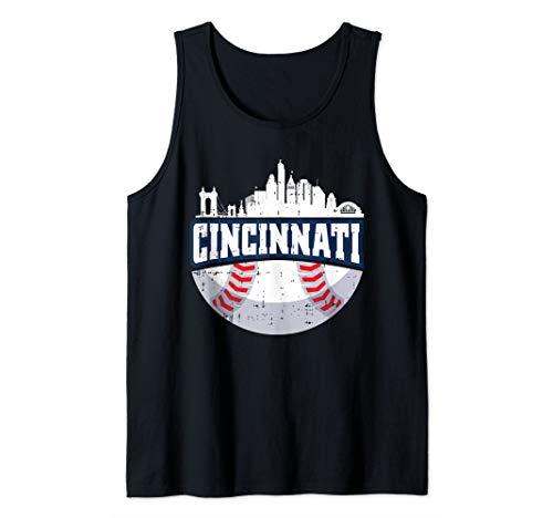 Cincinnati Baseball Skyline Ohio Baseball Player Gift Tank Top