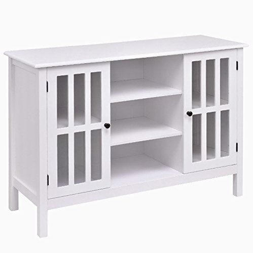 White Wooden Free Standing TV Stand Storage Cabinet Organizer Console Table Holds Up To 45'' TV Large Storage Space 2 Cupboards 3 Display Shelves Home Bedroom Living Room Stylish Furniture Décor by Auténtico