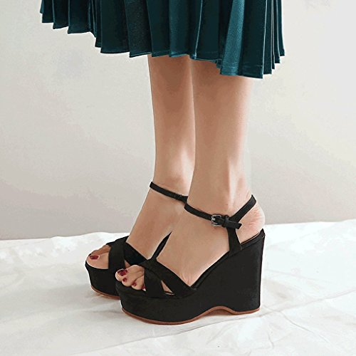 8c0a9771 SANDALIAS negras atractivas de las cuñas Plataforma retra de las mujeres  Peep Toe High Heels Zapatos