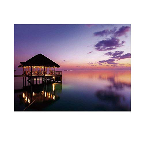 - Tropical Photography Background,Arbor with Lights on Sea at Dramatic Night Paradise Maldives Sky Exquisite Coast View Backdrop for Studio,7x5ft