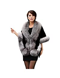 Women's Faux Fur Coat Jacket Wedding Cloak Cape Shawl Overcoat Outerwear