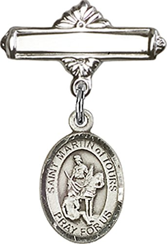 (Sterling Silver Polished Baby Bar Pin with Saint Martin of Tours Charm, 11/16 Inch)