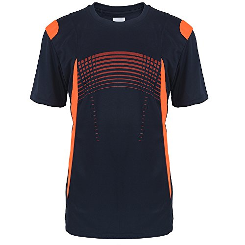 Tee Basketball S/s (Erin Garments Full Polyester Dry Fit Neck Crew Short Sleeve Sports Performance Tee Shirts Men S-3XL (Large, Navy))