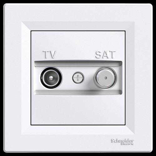 Schneider electric eph3400121/prise TV//SAT Final blanc