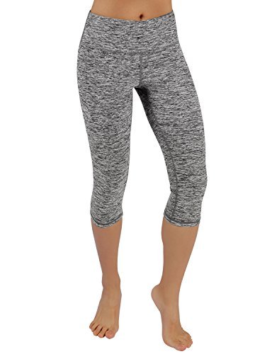 ODODOS Power Reflex Yoga Capri Pants Tummy Control Workout Running 4 way Stretch Yoga Capri Pants With Hidden Pocket,GrayHearher,X-Large