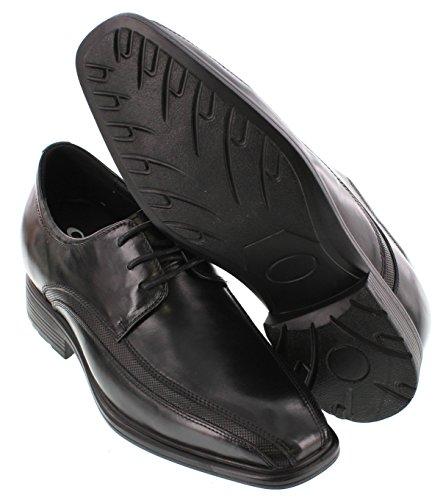 calto–g60126–7,6cm Grande Taille–Hauteur Augmenter Chaussures ascenseur–Noir à Lacets Oxfords