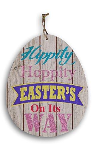 (Egg Shaped Wooden Hanging Hippity Hoppity Decor Sign - 10.75 x)