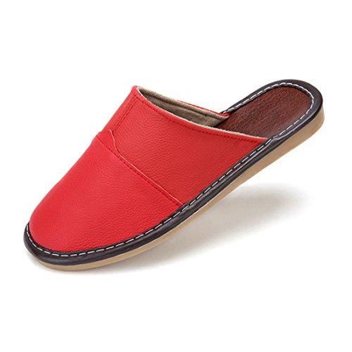 Pocartz Unisexe Qualité Véritable Cuir Maison Pantoufle Maison Intérieure Sandales Plates Chaussures Rouge